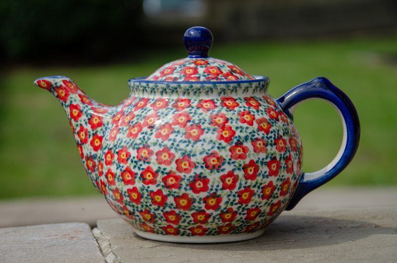 Polish Stoneware Pottery Ditzy Red Flower Unikat Teapot for 2 people