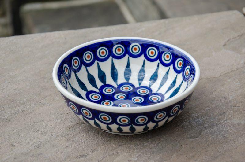Polish Pottery Peacock Leaf dessert or Cereal Bowl by Ceramika Manufaktura.