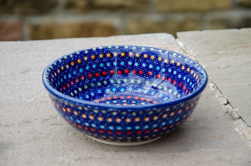 Polish Pottery Neon Pattern Dessert Bowl by Ceramika Manufaktura