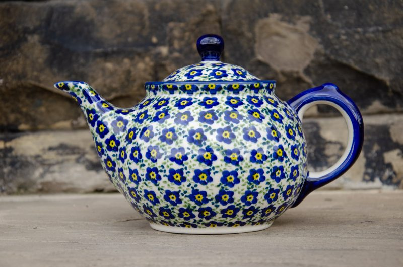 Polish Pottery Teapot for 2 Ditzy Blue Flower Unikat Design