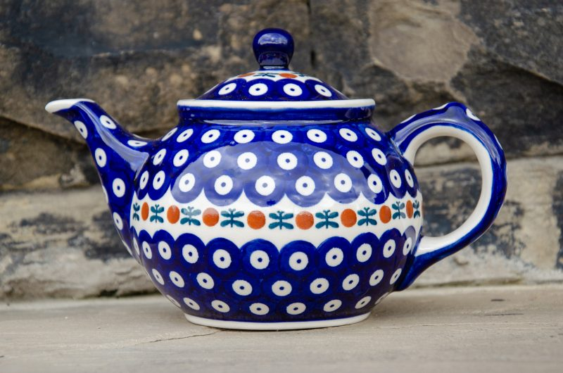 Polish Pottery Teapot for 2 Fern Spot design. From Polkadot lane UK