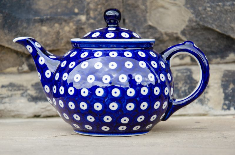 Polish Pottery Dark Blue Spotty Teapot by Ceramika Manufaktura