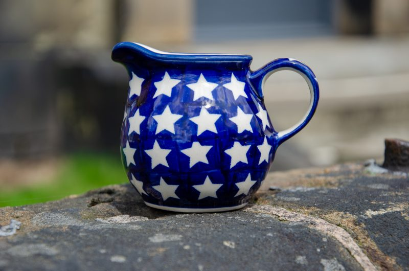 Polish Pottery White Star Creamer jug by Ceramika Manufaktura
