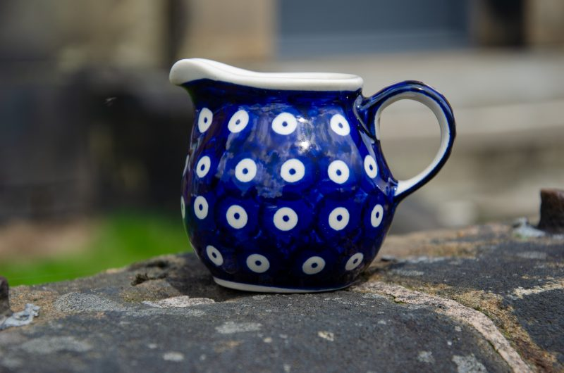 Polish Pottery Blue Spotty Small Milk Jug from Polkadot Lane UK