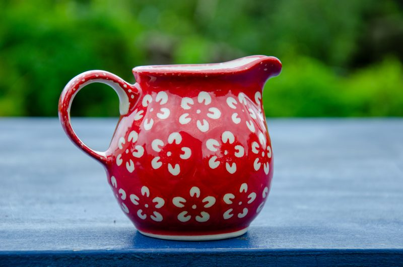 Polish Pottery White Flower on Red Creamer Jug by Ceramika Manufaktura