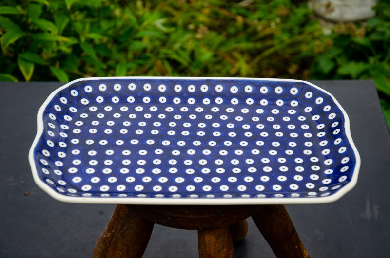 Polish Stoneware Pottery Blue Spotty Serving Platter