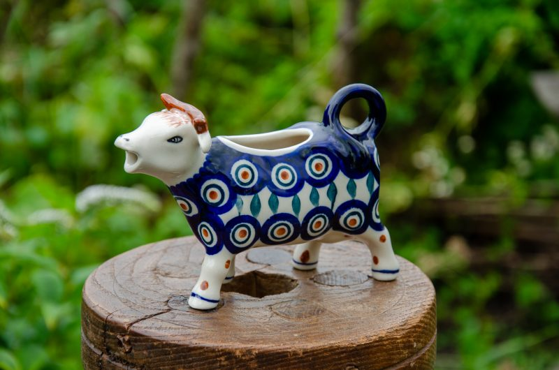 Polish Pottery Cow Shaped Jug Peacock Leaf Design by Ceramika Manufaktura