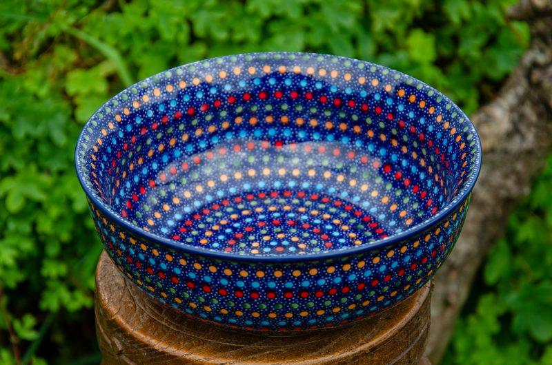 Polish Pottery Neon Pattern Salad Bowl by Ceramika Manufaktura