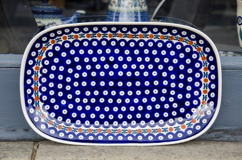 Polish Stoneware Pottery Fern Spot Serving Platter by ceramika Manufaktura