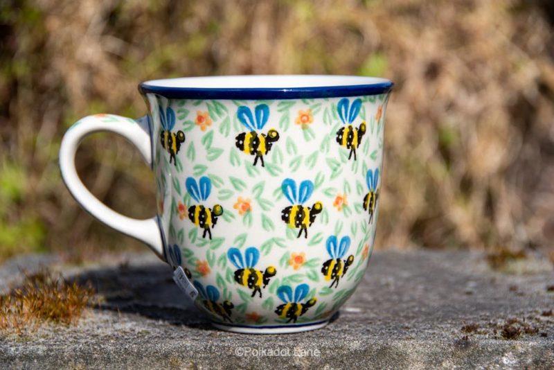 Bee Pattern Curved Mug by Ceramika Artystyczna