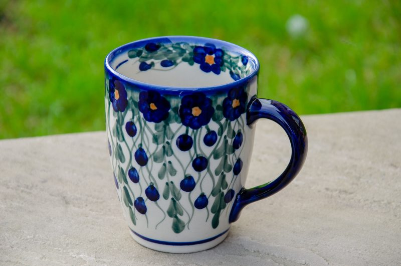 Polish Pottery Trellis Pattern Curved Shaped Mug Unikat Design