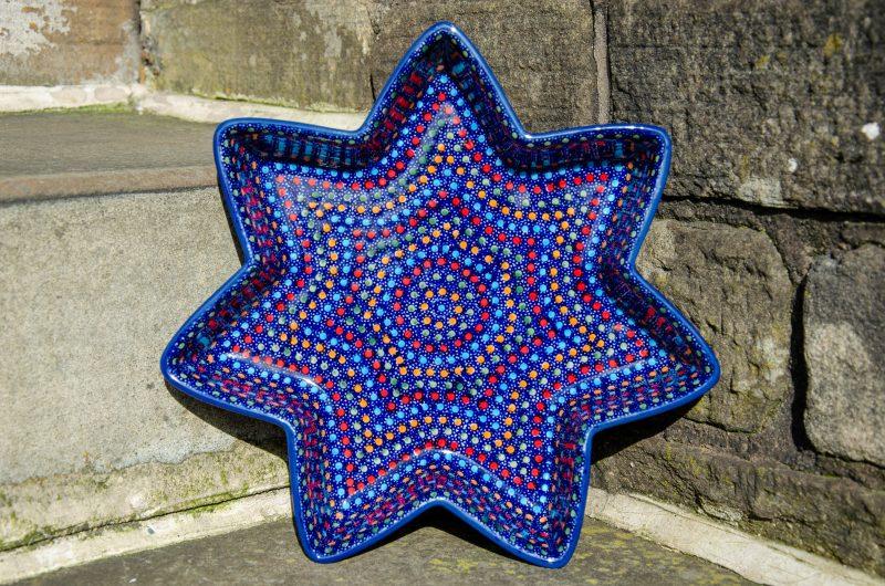 Polish Pottery Neon pattern Star Shaped Dish