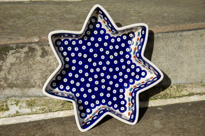 Polish Pottery Fern Spot Star Dish by Ceramika Manufaktura.