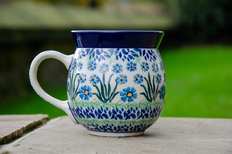 Polish Pottery Forget Me Not Large Round Mug