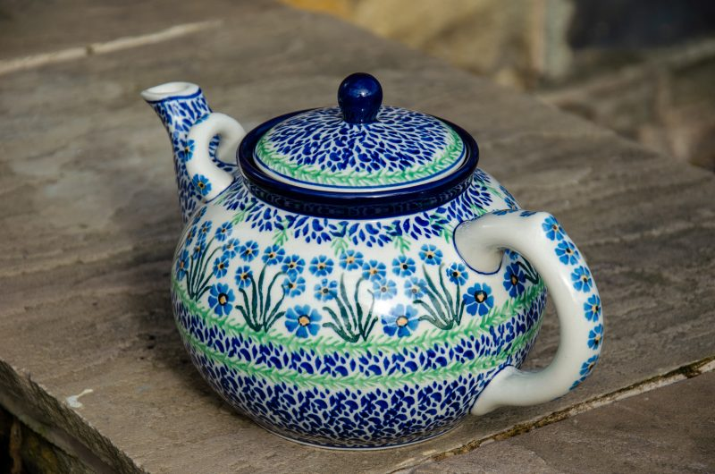 Polish Pottery Forget me not large teapot for 4 or more people