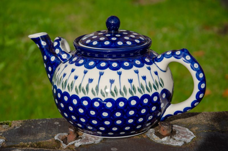 Polish Pottery Flower Spot Large Teapot extra handle for 4 or more persons