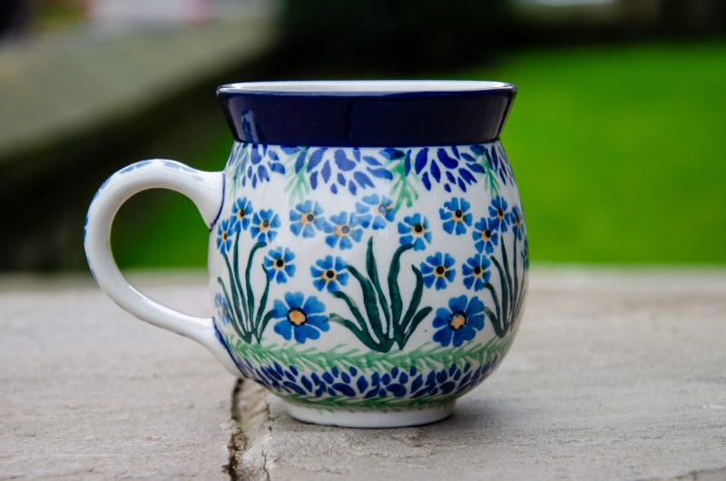 Polish Pottery Forget Me Not Pattern Round Mug 330ml