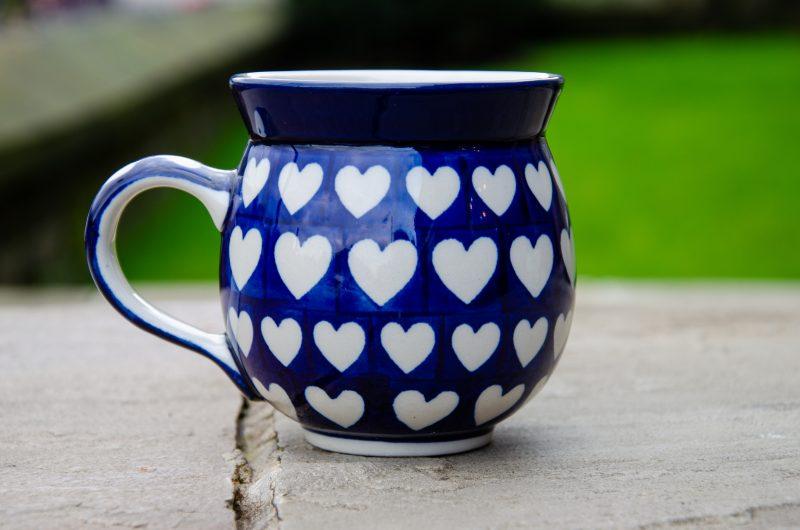 Polish Pottery Large Heart Design Round Mug by Ceramika Artystyczna