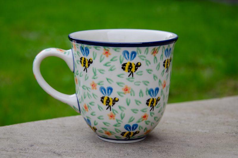 Polish Pottery Bee Pattern Curved Mug by Ceramika Artystyczna