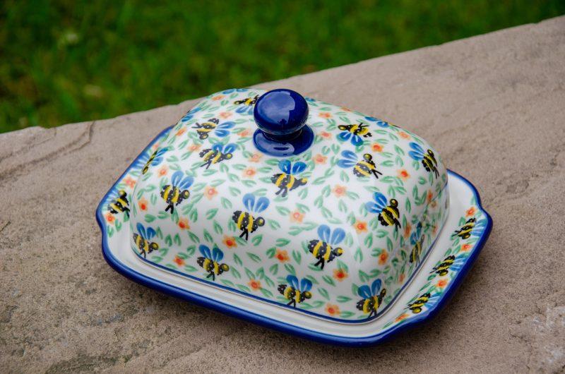 Polish Pottery Bee pattern Butter Dish by Ceramika Artystyczna
