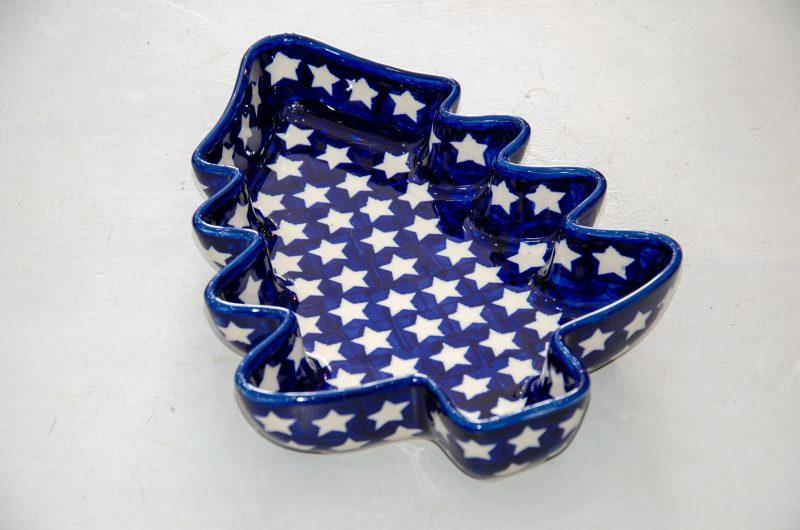 Polish Pottery White Star Christmas Dish by Ceramika Manufaktura
