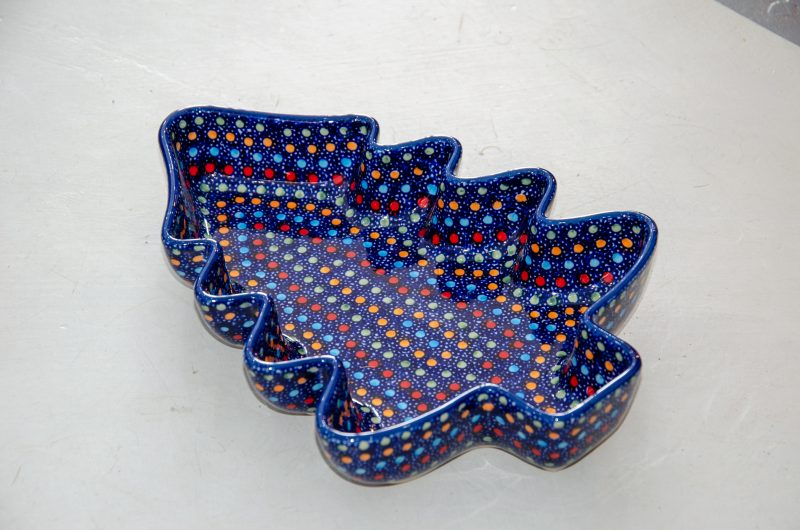 Polish Pottery Christmas Dish Neon Pattern