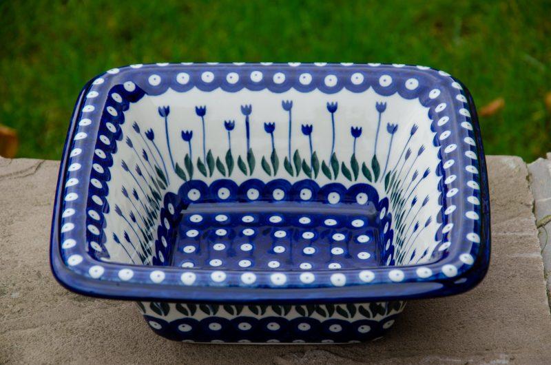Polish Pottery Flower Spot Square Dish by Ceramika Artystyczna