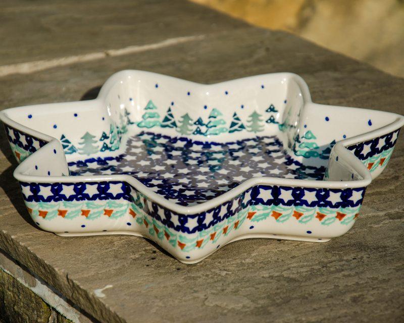 Polish Pottery Christmas Tree Star Dish by Ceramika Manufaktura