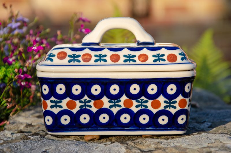 Polish Pottery Fern Spot Butter Box by Ceramika Manufaktura