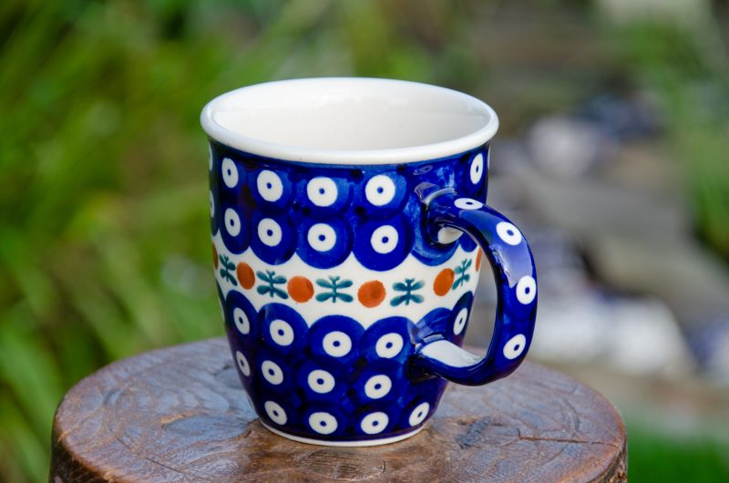 Polish Pottery Fern Spot Curved Mug by Ceramika Manufaktura