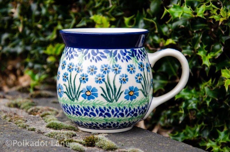 Polish Pottery Forget Me Not Large Mug from Polkadot Lane UK