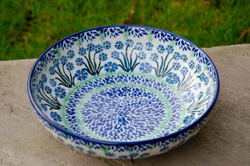 Polish Pottery Forget Me Not Serving Bowl Ceramika Artystyczna