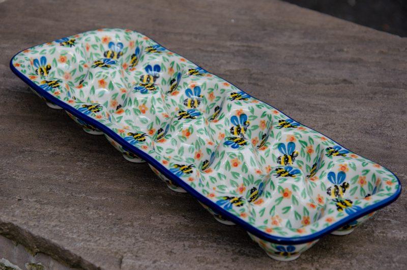 Polish Pottery Bee Pattern Egg Tray by Ceramika Artystyczna