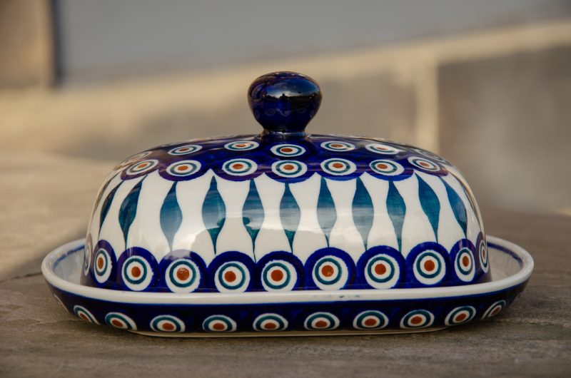 Polish Pottery Peacock Leaf Butter Dish by Ceramika Manufaktura