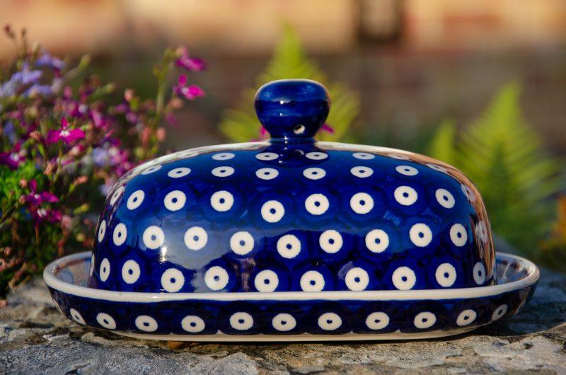 Polish Pottery Butter Dish Blue Spotty by Ceramika Manufaktura
