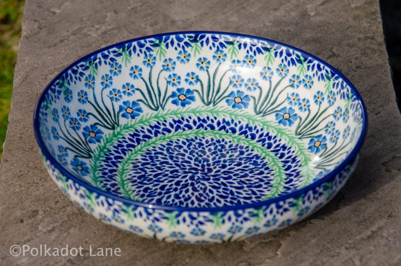 Forget Me Not Salad Bowl by Ceramika Artystyczna Polish Pottery