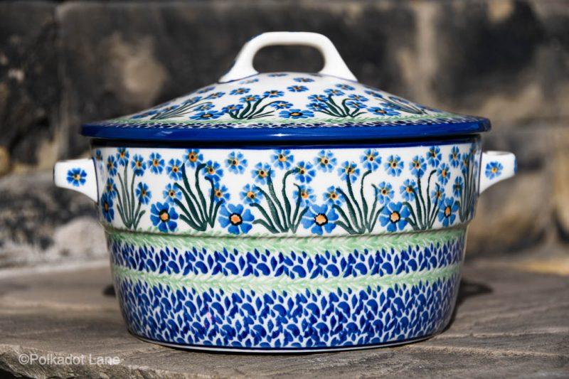 Forget Me Not Casserole Dish by Ceramika Artystyczna