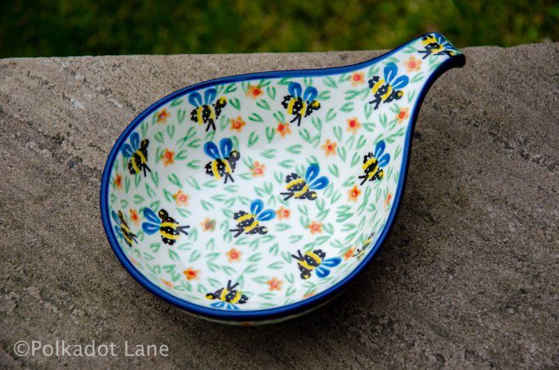 Bee Pattern Nibble Dish by Ceramika Artystyczna Polish Pottery