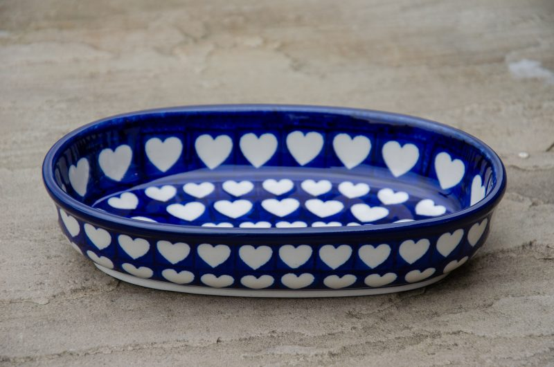 Large Heart Pattern Oval Dish from Polkadot Lane UK
