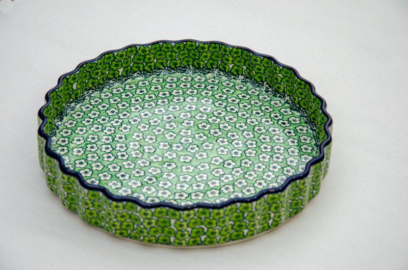 Green Meadow Flan Dish by Ceramika Artystyczna