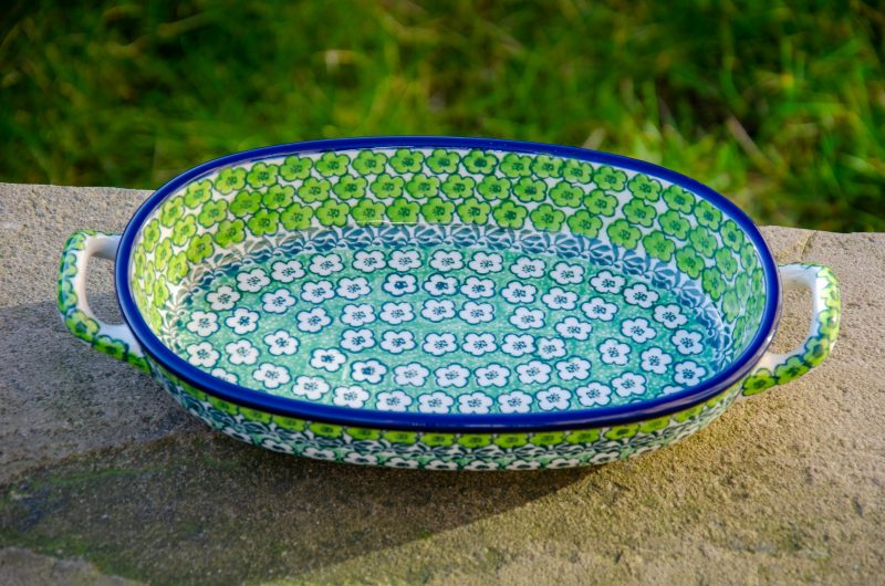 Green Meadow Oval Dish With Handles