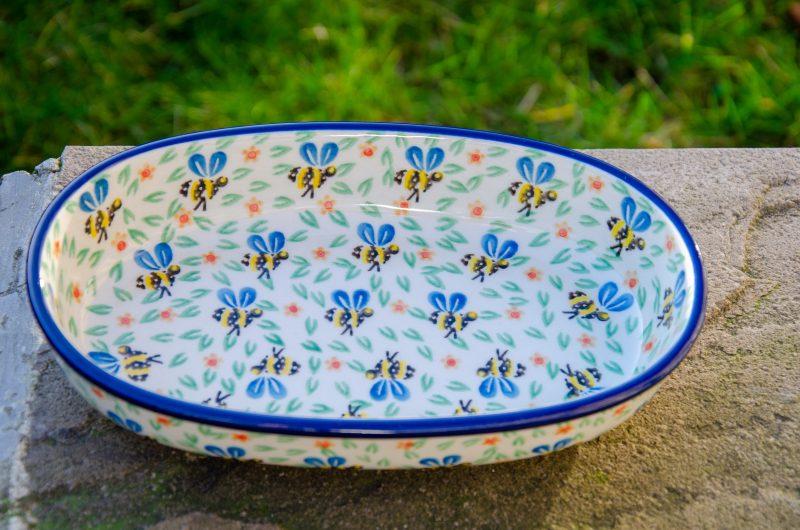Bee Pattern Oval Dish by Ceramika Artystyczna