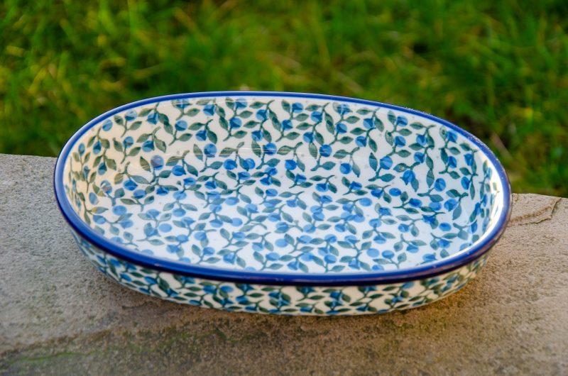 Blue Berry Leaf Oval Dish by Ceramika Artystyczna