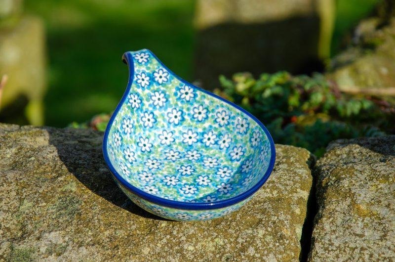 Turquoise Daisy Nibble Dish by Ceramika Artystyczna