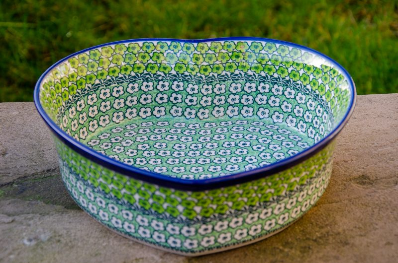 Polish Pottery Green Meadow Large Heart Dish