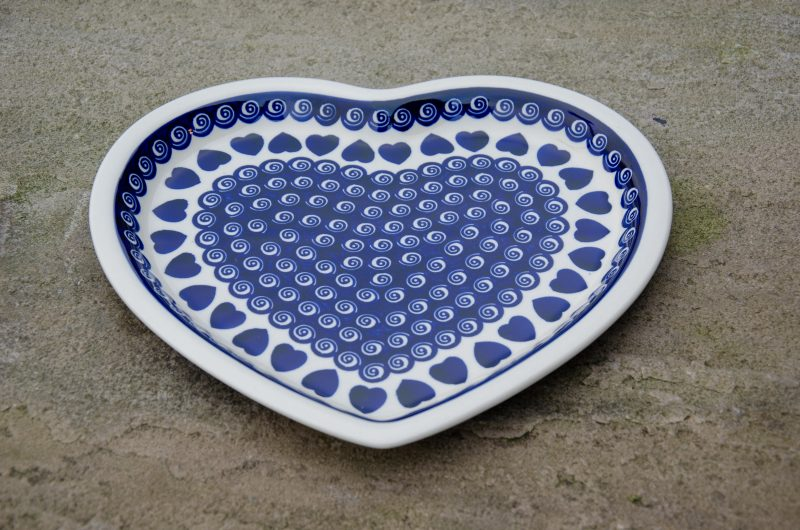 Heart and Swirl Heart Plate by Ceramika Zaklady