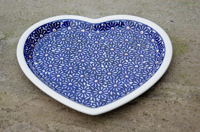 Large Blue Daisy Heart Shaped Plate
