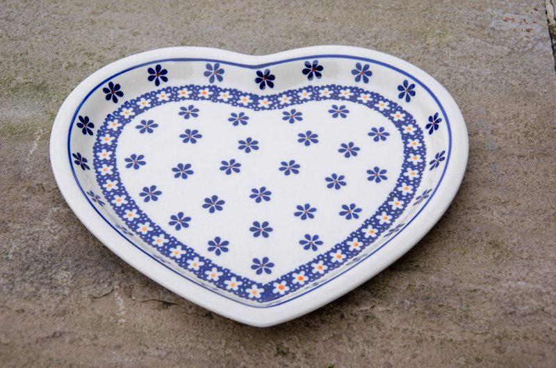 Orange and Blue Flower Heart Shaped Plate from Polkadot Lane UK