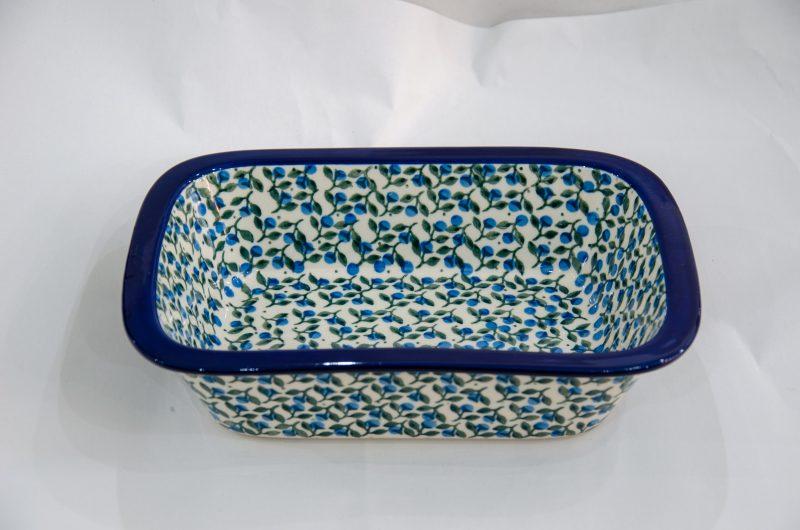Blue Berry Leaf Small Oven Dish by Ceramika Artystyczna