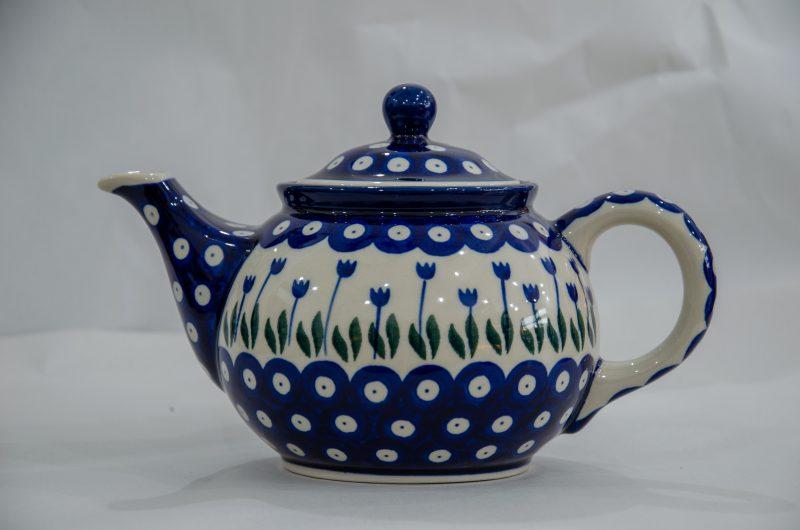 Polish Pottery Teapot Flower Spot Design from Polkadot Lane UK